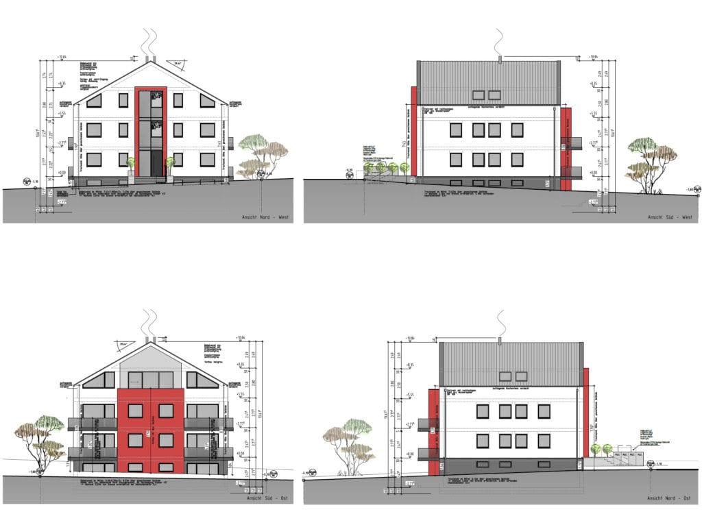 Skizzen Planung Häuser