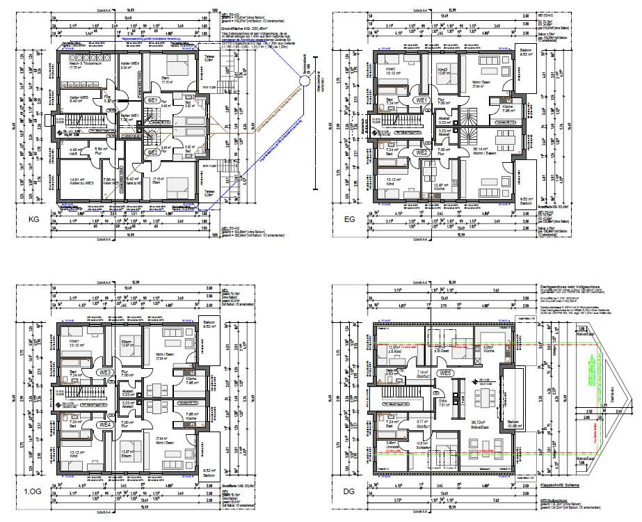 Grundriss 4 Skizzen Planung
