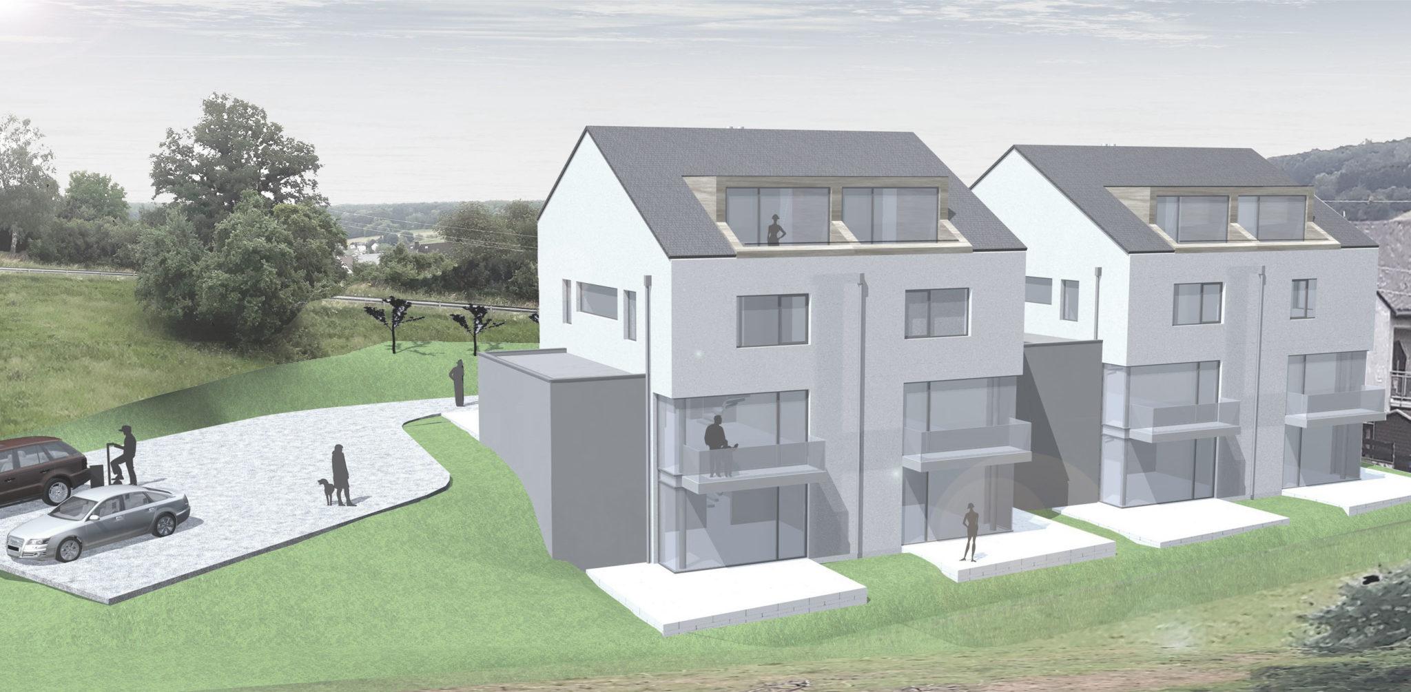 Projektentwicklung DHH Rendering Häuser