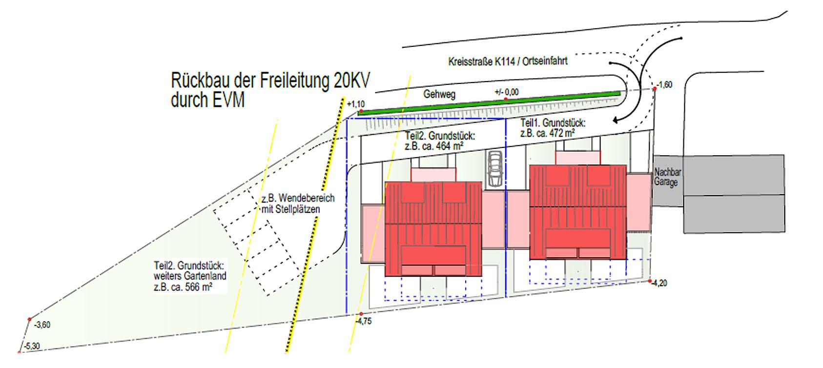 Projektentwicklung DHH Skizze Grundriss
