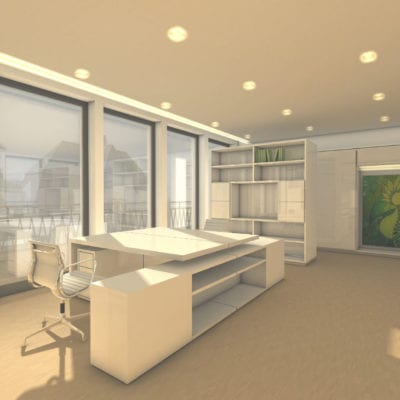 Penthousebüro Büro-Rendering Innenarchitektur 1