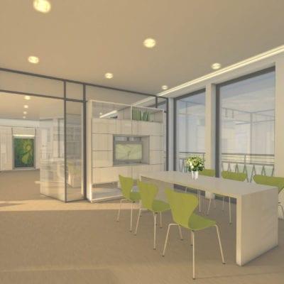 Penthousebüro Büro-Rendering Innenarchitektur 2