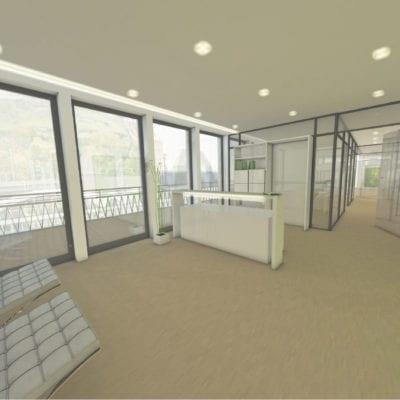 Penthousebüro Büro-Rendering Innenarchitektur