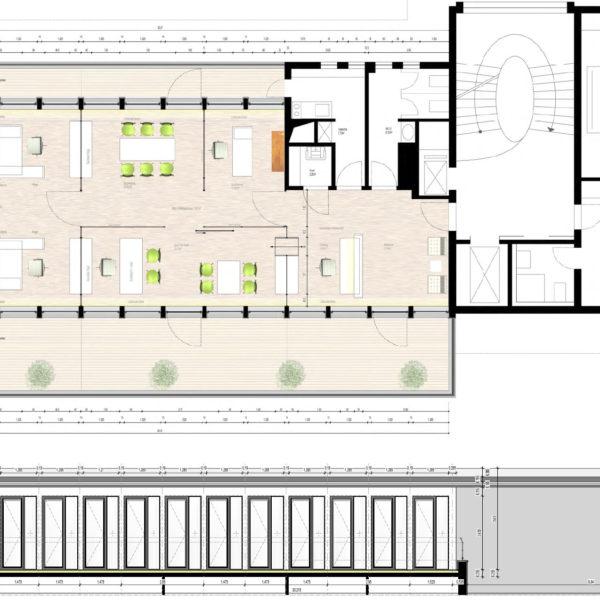 Skizze Grundriss Penthousebüro